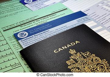 美國, canadian, 海關, 形式, usa:, 護照, 到達