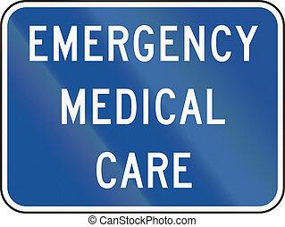 美國, mutcd, 路標, -, 緊急事件, 醫治