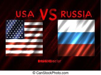 美國, vs, russia, 衝突