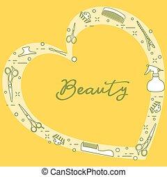 美容師, tools., manicure., 美しさ, salon.