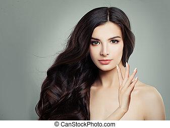美容術, 女, 巻き毛, 健康, 明確な 皮, 若い, 顔, treatment., 魅力的, 美顔術, hair., エステ, 美しさ, haircare