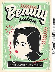 美容院, retro, 海報, 設計