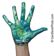 美術の色, 手, ペイントされた, 技能, 子供
