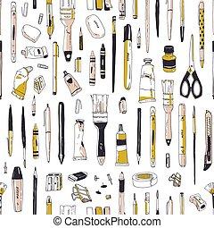 美術ツール, スタイル, 生地, バックグラウンド。, 型, seamless, 道具, 執筆, 文房具, 供給, 白, 包むこと, イラスト, 手, 引かれる, print., ペーパー, ∥あるいは∥, 現実的, ベクトル, パターン, 図画