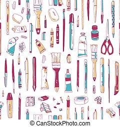 美術ツール, スタイル, 生地, バックグラウンド。, 型, seamless, 道具, 執筆, 文房具, 供給, 白, 包むこと, イラスト, 手, 引かれる, print., 芸術家, ペーパー, 現実的, ベクトル, パターン, ∥あるいは∥