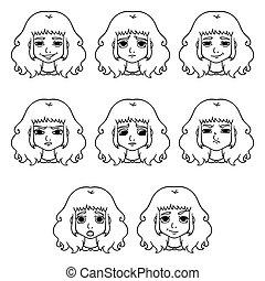 美顔術, セット, emotions., expression., 女性