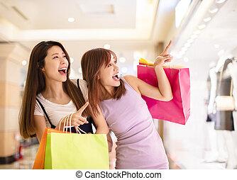 美麗的女孩, 購物, 在, 購物中心