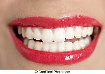 美麗的婦女, 完美的牙齒, 微笑