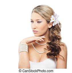 美麗的婦女, 珠寶, 她, 被隔离, 頭髮, 珍珠, 花, 背景, 肖像, 白色