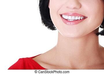 美麗的婦女, 由于, 她, 完美, 直接, 白色, teeth.