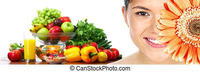 美麗的婦女, 由于, 花, 以及, vegetables.