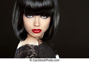 美麗的婦女, 由于, 黑色, 短, hair., haircut., hairstyle., fring