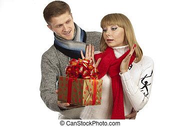 美麗的婦女, 禮物給, 年輕人