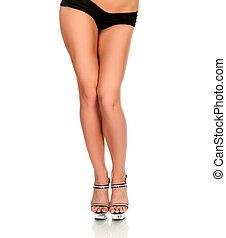 美麗的婦女, 背景, 腿, 被隔离, 白色