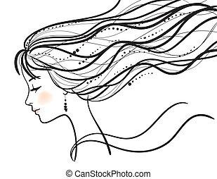 美麗的婦女, 臉, 黑色半面畫像