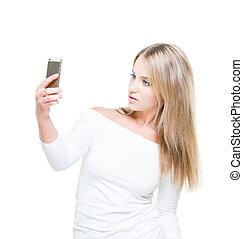 美麗的婦女, selfie, 年輕, 被隔离, 背景。, 作苦相, 做
