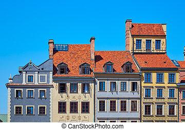 美麗, 上色, 房子, 在, 華沙