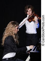 美麗, 二, 年輕, 矯柔造作, 小提琴, 鋼琴, 婦女