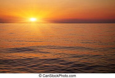 美麗, 傍晚, 在上方, the, ocean., 日出, 在, the, 海