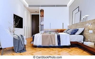 美麗, 內部, 3d, render, 寢室