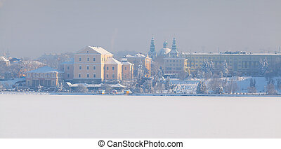 美麗, 冬天風景, 在, the, ternopil, city., 烏克蘭