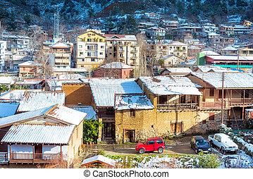 美麗, 冬天風景, 由于, 雪 被蓋, kakopetria, village., 塞浦路斯