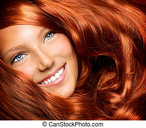 美麗, 卷曲, 健康, 長, 頭髮, 頭髮, 女孩, 紅色