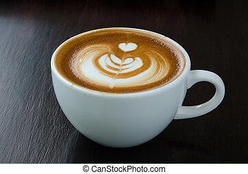美麗, 咖啡, 藝術, 杯子, latte, 背景。, 黑色
