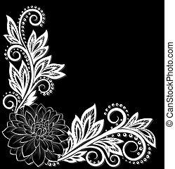 美麗, 單色, 黑色 和 白色, 帶子, 花, 在, the, corner., 由于, 空間, 為, 你, 正文