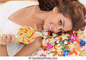 美麗, 地板, 糖果, 甜, 頂部, 年輕, 當時, 藏品, beauty., 蓋, 看法, 糖果, 躺, 婦女