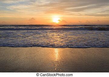 美麗, 夏天, 背景, 海灘, 日出
