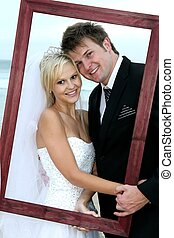 美麗, 夫婦, 框架, 婚禮