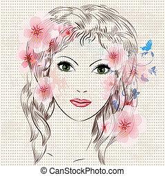 美麗, 女孩, 時裝, 花, 臉