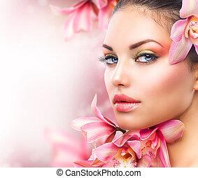 美麗, 女孩, 由于, 蘭花, flowers., 美麗, 婦女 面孔