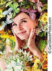美麗, 女孩, 由于, 蝴蝶, 以及, 花, 上, grass.