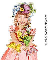 美麗, 女孩, 由于, 蝴蝶, 以及, flower.
