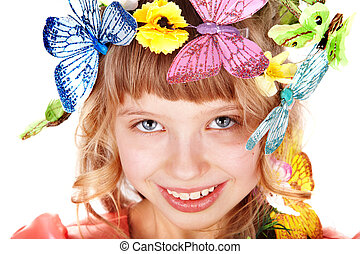 美麗, 女孩, 由于, 蝴蝶, .
