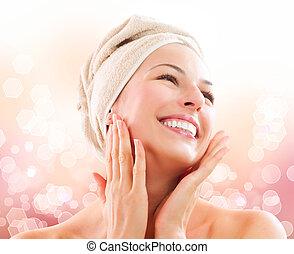 美麗, 她, face., 以後, 洗澡, skincare, 触, 女孩
