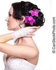 美麗, 婚禮, 發型, 由于, 明亮, 花