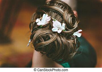 美麗, 婚禮, hairstyle., 新娘, 發型, 由于, 花