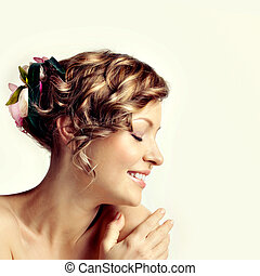 美麗, 婦女肖像, 發型, 由于, 花