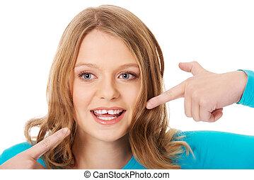 美麗, 婦女, 她, 顯示, 年輕, 牙齒