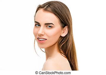 美麗, 婦女, 年輕, 括號, 牙齒