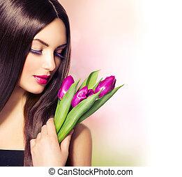 美麗, 婦女, 由于, 彈跳花, 花束