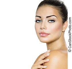 美麗, 婦女, portrait., 美麗, 黑發淺黑膚色女子, 由于, 藍色眼睛