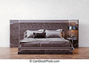 美麗, 寢室, 3d, render, 內部