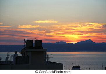 美麗, 屋頂, 頂部, 傍晚, 海, 天線