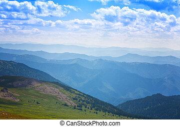 美麗, 山, 云霧, 藍色的天空, 白色, 風景