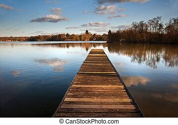 美麗, 平靜, 木制, 圖像, 防波堤, 湖, 傍晚, 釣魚, 清楚, 風景, 反映