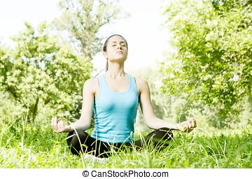 美麗, 年輕婦女, 做, 瑜伽